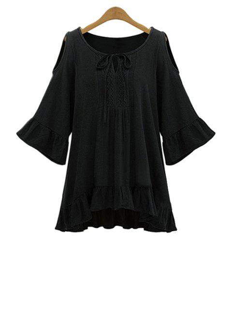 Ruffle Hem Cut-Out Blouse - Noir 5XL Mobile