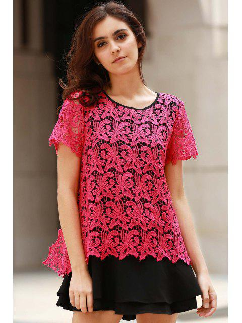 hot Lace Splicing Hit Color Round Neck Short Sleeve Dress - ROSE L Mobile