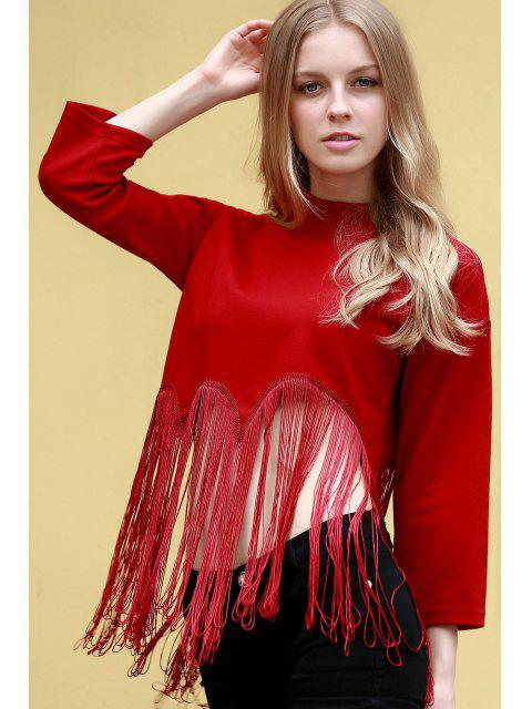 outfits Tassels Spliced Stand Neck 3/4 Sleeve T-Shirt - RED M Mobile