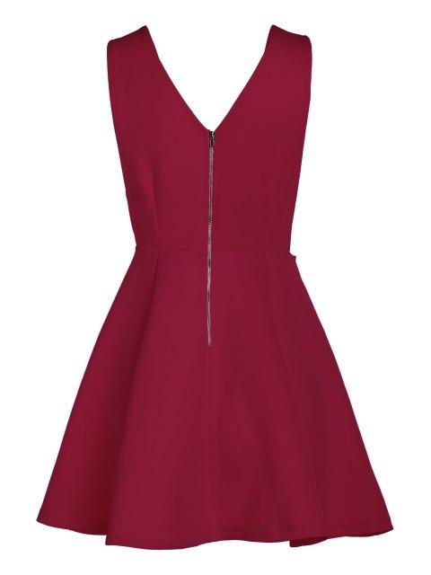 online Solid Color Plunging Neck Sleeveless Flare Dress - CLARET L Mobile