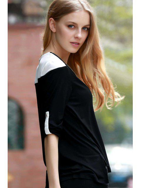 women's Color Block V-Neck Long Sleeve T-Shirt - BLACK 3XL Mobile