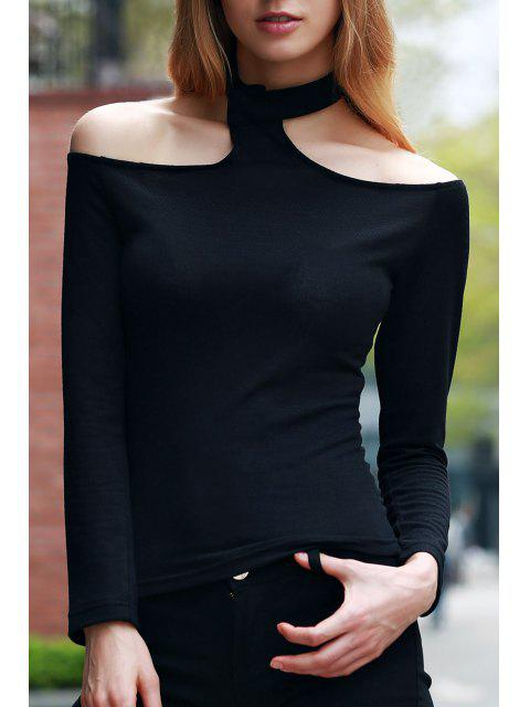 fashion Solid Color Long Sleeve T-Shirt - BLACK M Mobile