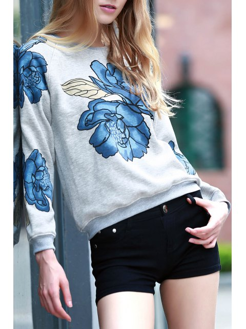 outfits Floral Print Round Collar Long Sleeve Sweatshirt - LIGHT GRAY S Mobile
