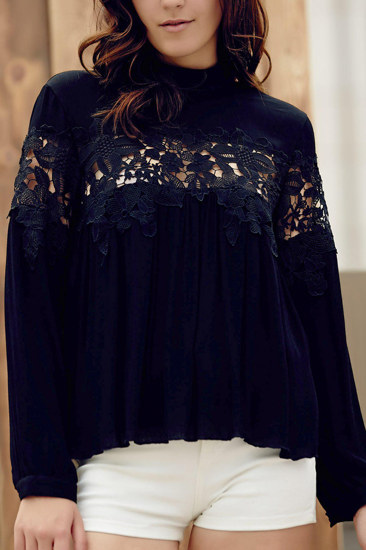 Lace Spliced Stand Collar Long Sleeve Black Blouse 171264303