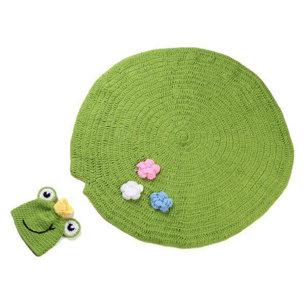 High Quality Handmade Crochet Knit Cap Green Frog Hat Lotus Leaf Blanket Baby Costume Set 175987101