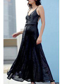 Backless Sequins Spaghetti Strap Maxi Dress - Black 2xl