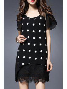 Buy Polka Dot Round Collar Short Sleeve Lace Spliced Dress - BLACK XL