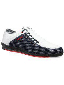 المألوف الربط و اللون كتلة تصميم أحذية عادية للرجال - أبيض 43