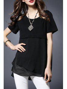 Chiffon Spliced Round Collar Short Sleeve T-Shirt - Black 4xl