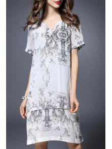 Printed Notched Neck Short Sleeve Dress - White 3xl