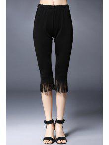 Borlas EMPALMÓ Solid Color De Los Pantalones Capri - Negro 5xl