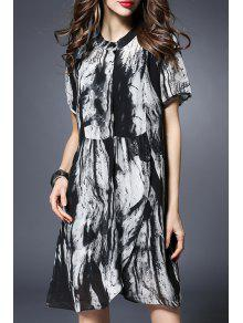 Buy Printed Short Sleeve Loose Fitting Dress - BLACK 5XL