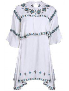 Embroidery Round Collar Half Sleeve T-Shirt - White