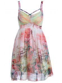 Flower Print Cami Pleated Dress