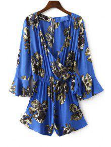Flower Print Plunging Neck Lartern Sleeve Romper - Sapphire Blue S
