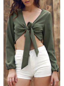 Buy Plunging Neck Long Sleeve Self-Tie Crop Top 3XL ARMY GREEN