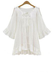 Ruffle Hem Cut-Out Blouse - White 2xl