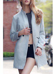 Solid Color Stand Collar Long Sleeve Coat - Light Gray 2xl