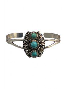 Turquoise Hollow Alloy Ring - SILVER