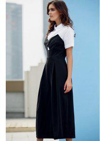 Preppy Style Color Block Jumpsuit - White And Black L