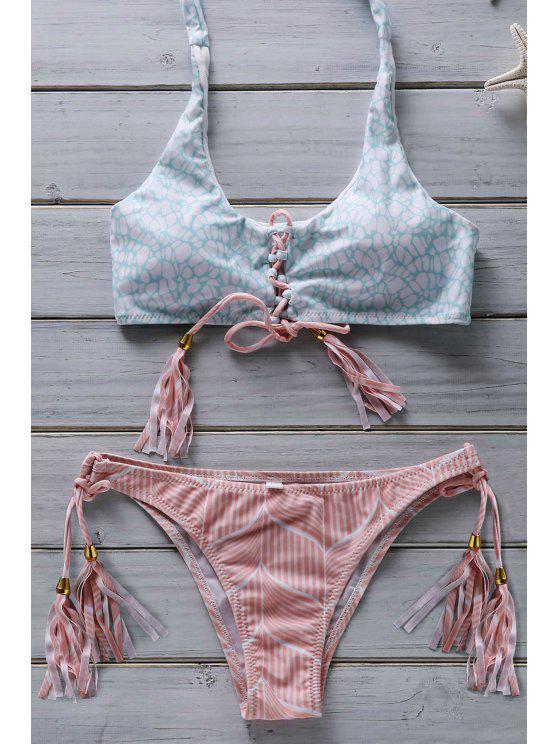 women Flower Print Lace Up Bathing Suit - PINK M