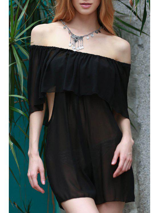 women See-Through Off the Shoulder Chiffon Dress - BLACK S