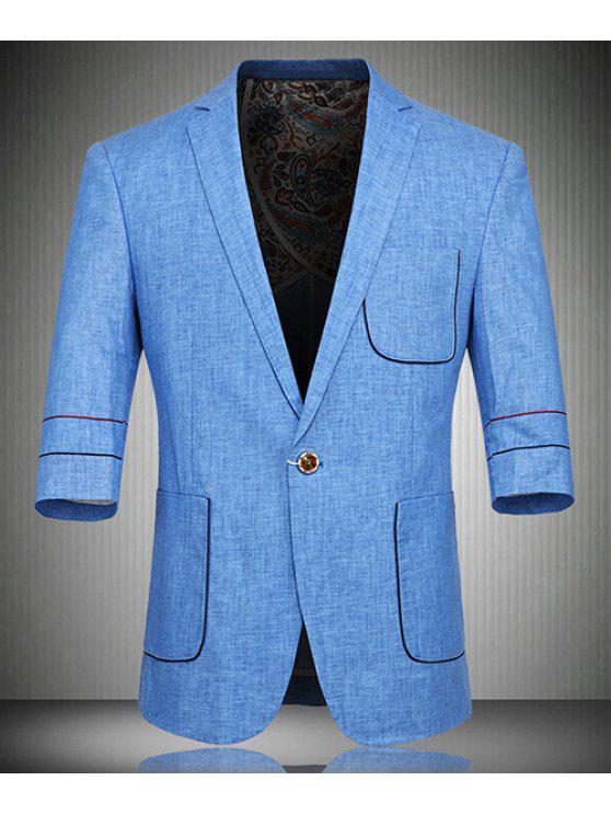 Un solo botón de lino de tres cuartos de la manga chaqueta para los hombres  BLUE