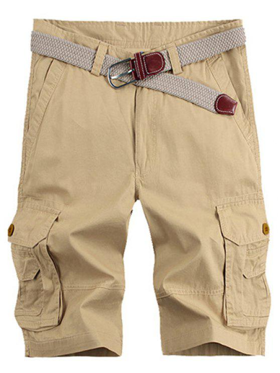 Stereo Solid Color Patch Pocket Straight Leg Zipper Fly Cargo Shorts pour hommes - Kaki 36