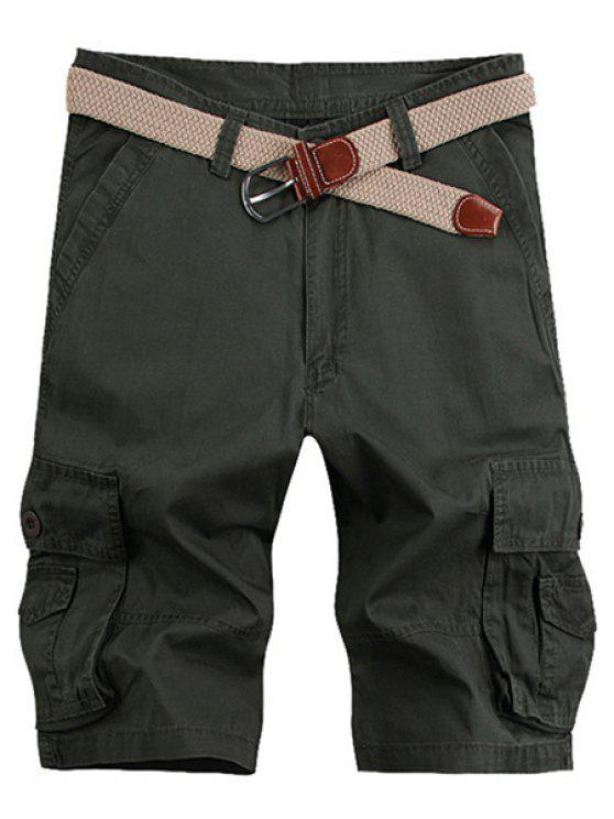 hot Solid Color Stereo Patch Pocket Straight Leg Zipper Fly Cargo Shorts For Men - ARMY GREEN 34
