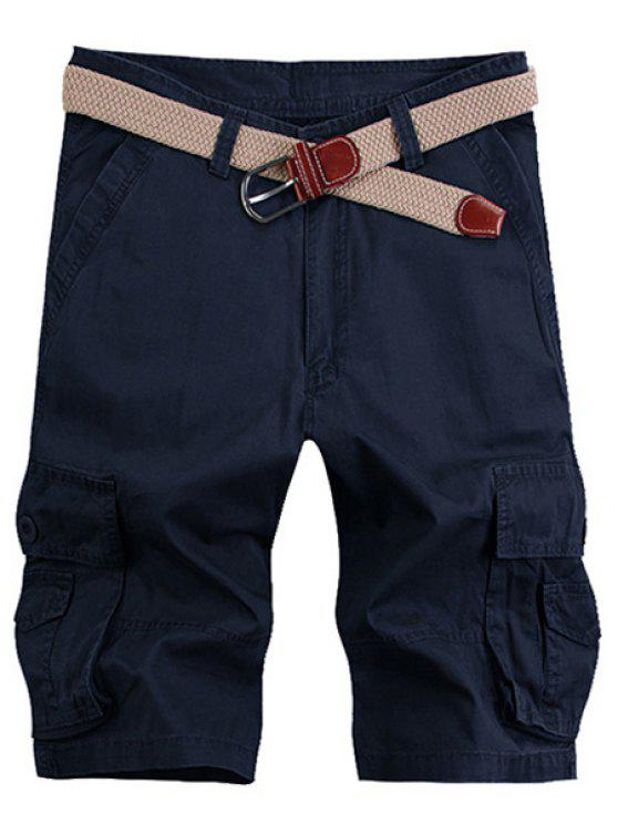 Stereo Solid Color Patch Pocket Straight Leg Zipper Fly Cargo Shorts pour hommes - Bleu Violet 33
