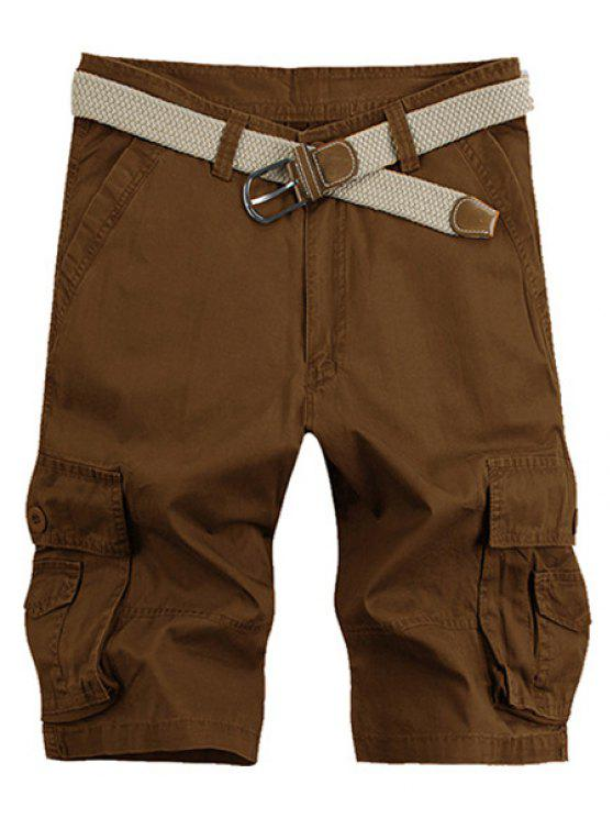 latest Solid Color Stereo Patch Pocket Straight Leg Zipper Fly Cargo Shorts For Men - COFFEE 36