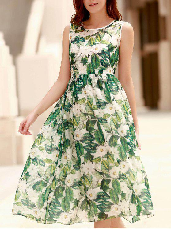 lady Elegant Jewel Neck Sleeveless Floral Printed Pleated Dress For Women - EMERALD L