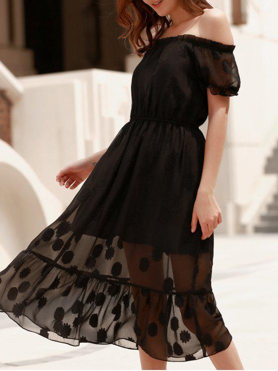 Color sólido con Encanto Off-The-Hombro visten de gasa Diseño Midi para las mujeres - Negro XL