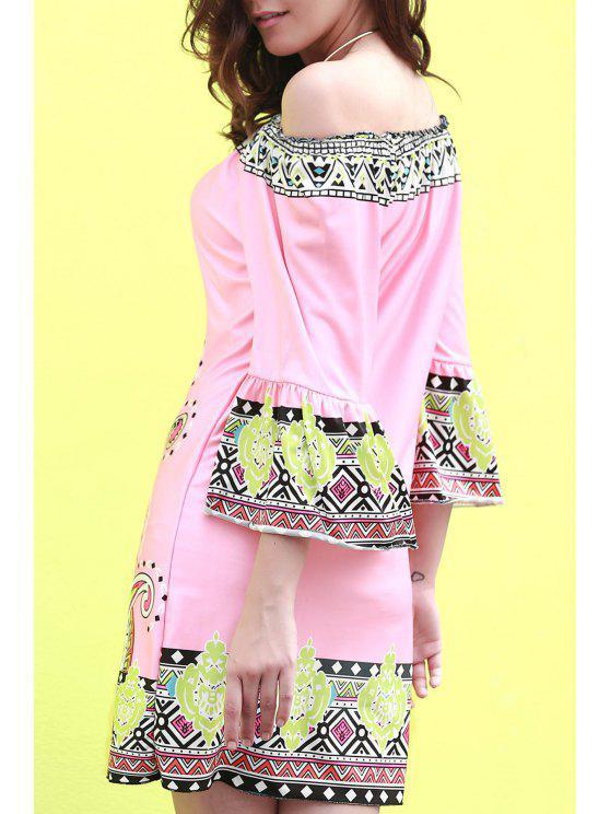 Vestido con Estampado Fuera del Hombro - Rosa M