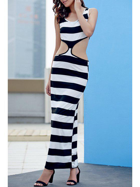 Gestreiftes ausgeschnittenes Abendkleid - Weiß & Schwarz L