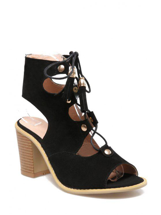 e4743719d9c7 36% OFF  2019 Lace-Up Peep Toe Chunky Heel Sandals In BLACK