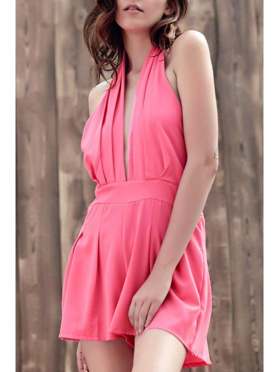 Wide Leg Plongeant Neck manches Romper - ROSE PÂLE M