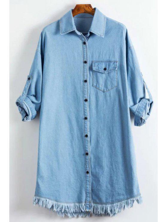 shop Denim Shirt Collar Long Sleeve Shirt - LIGHT BLUE L
