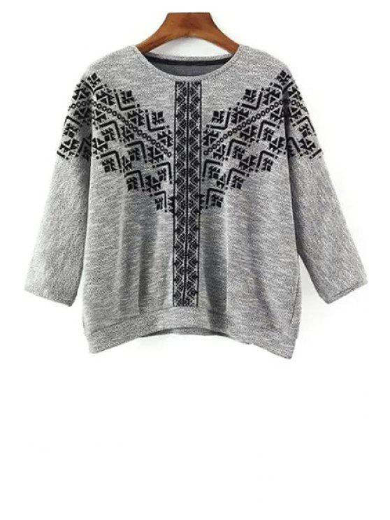 fashion Embroidery Round Collar 3/4 Sleeve Sweatshirt - GRAY S