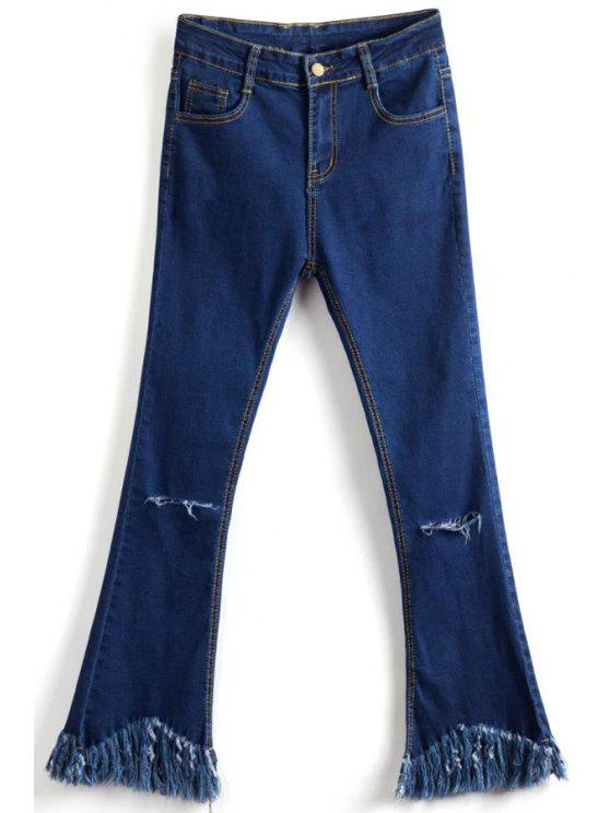 women Tassels Spliced Ripped Boot Cut Jeans - DEEP BLUE S