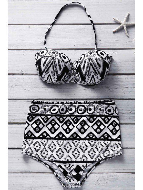 outfits Geometric Print Strapless Bikini Set - COLORMIX S