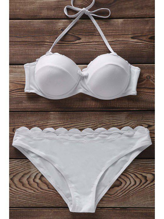 Color sólido sin tirantes del bikini Set - Blanco S
