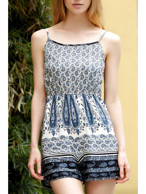 ladies Backless Spaghetti Straps Printed Romper - COLORMIX S