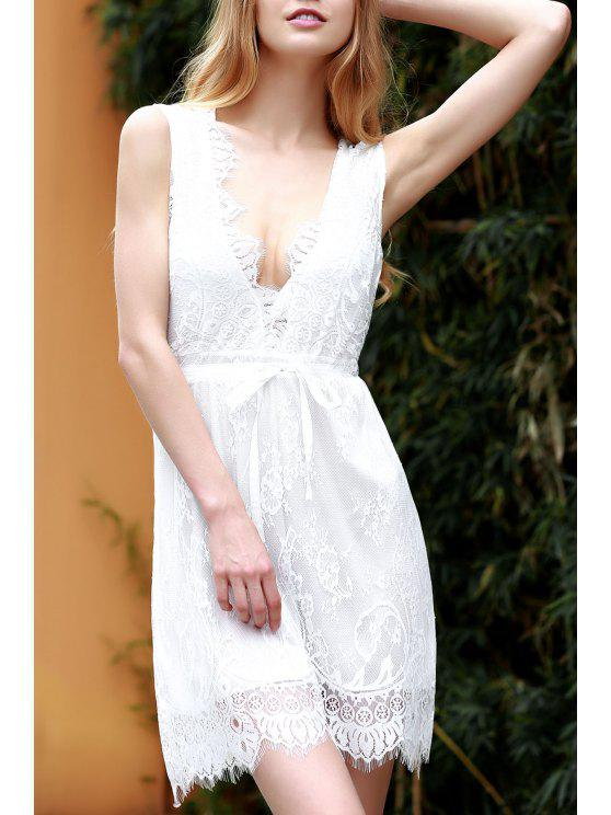 sale White Lace Plunging Neck Sleeveless Dress - WHITE XL