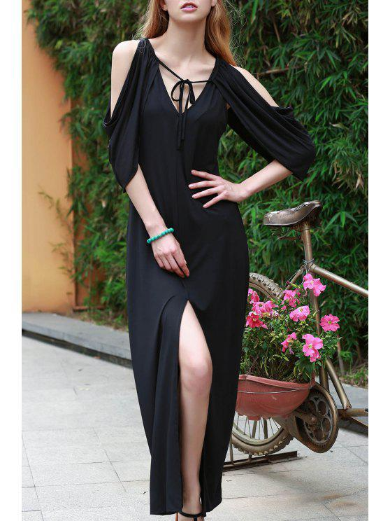 new Draped Sleeve Cold Shoulder Maxi Prom Dress - BLACK M