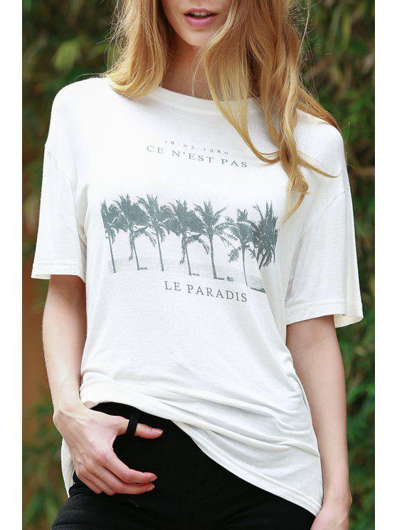 Coconut Palm Print White T-Shirt - Blanc 2XL