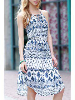 Sleeveless Geometric Print Chiffon Dress - Blue L
