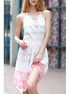 Sleeveless Geometric Print Chiffon Dress - White M