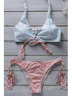 Flower Print Lace Up Bathing Suit - Pink L
