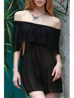 See-Through Off The Shoulder Chiffon Dress - Black M